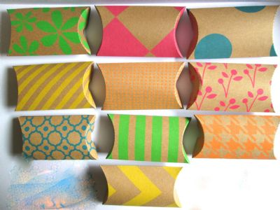 10 Small Multi Coloured Kraft Card  Pillow Shaped Favour Boxes (1)